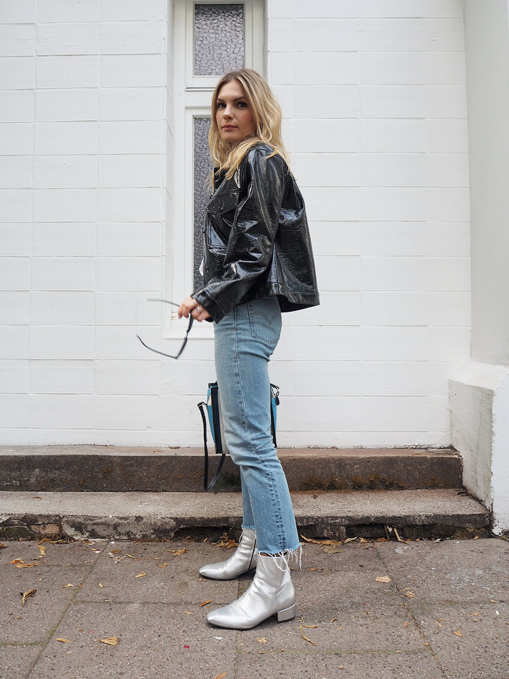 RosyCheeks-Monki-vinyl-jacket-Levis-straight-wedgie