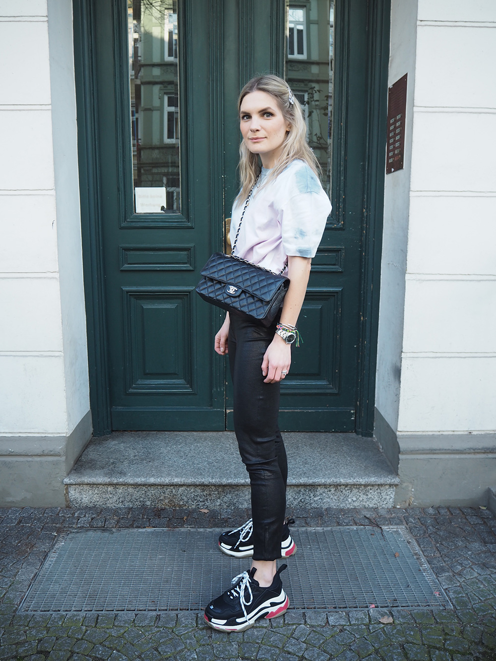 RosyCheeks-tie-dye-t-shirt-j-brand-leather-trousers